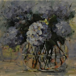 Blue Hydrangeas in Glass Bowl*SOLD*