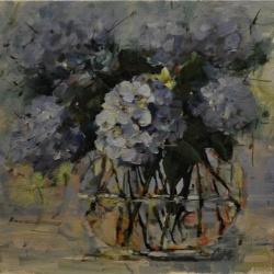 Blue Hydrangeas in Glass Bowl*SOLD*